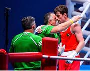 6 June 2021; Aidan Walsh of Ireland celebrates after victory over Yevhenii Barabanov of Ukraine in their welterweight 69kg quarter-final bout on day three of the Road to Tokyo European Boxing Olympic qualifying event at Le Grand Dome in Paris, France. Photo by Baptiste Fernandez/Sportsfile