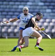 6 June 2021; Galway goalkeeper Eanna Murphy is tackled by Dessie Hutchinson of Waterford during the Allianz Hurling League Division 1 Group A Round 4 match between Galway and Waterford at Pearse Stadium in Galway. Photo by Ramsey Cardy/Sportsfile