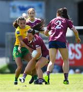 6 June 2021; Charlotte Cooney of Galway is tackled by Niamh Hegarty of Donegal during the Lidl Ladies Football National League match between Galway and Donegal at Tuam Stadium in Tuam, Galway. Photo by Piaras Ó Mídheach/Sportsfile