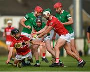 5 June 2021; Tadgh Deasy, left, supported by Shane Kingston of Cork is tackled by Limerick players Barry Nash, Declan Hannon and Colin Coughlan, right, during the Allianz Hurling League Division 1 Group A Round 4 match between Limerick and Cork at LIT Gaelic Grounds in Limerick. Photo by Ray McManus/Sportsfile