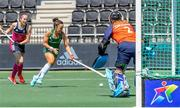 7 June 2021; Anna O'Flanagan of Ireland in action against Nicola Cochrane of Scotland during the Women's EuroHockey Championships Pool A match between Ireland and Scotland at Wagener Hockey Stadium in Amstelveen, Netherlands. Photo by Gerrit van Keulen/Sportsfile