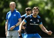 7 June 2021; Jack Conan watched by head coach Leo Cullen during Leinster Rugby squad training at UCD in Dublin. Photo by David Fitzgerald/Sportsfile