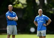 7 June 2021; Leinster head coach Leo Cullen, left, and senior coach Stuart Lancaster during squad training at UCD in Dublin. Photo by David Fitzgerald/Sportsfile