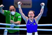 7 June 2021; Michaela Walsh of Ireland celebrates after winning her featherweight semi-final bout against Stanimira Petrova of Bulgaria on day four of the Road to Tokyo European Boxing Olympic qualifying event at Le Grand Dome in Paris, France. Photo by Baptiste Fernandez/Sportsfile