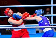 7 June 2021; Kellie Harrington of Ireland, right, and Esra Yildiz of Turkey in their lightweight 60kg semi-final bout on day four of the Road to Tokyo European Boxing Olympic qualifying event at Le Grand Dome in Paris, France. Photo by Baptiste Fernandez/Sportsfile