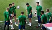 7 June 2021; Andrew Omobamidele and team-mates, from left, Ronan Curtis, Jamie McGrath and goalkeeper Mark Travers during a Republic of Ireland training session at Szusza Ferenc Stadion in Budapest, Hungary. Photo by Alex Nicodim/Sportsfile