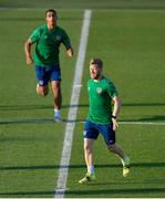 7 June 2021; Daryl Horgan and Adam Idah, left, during a Republic of Ireland training session at Szusza Ferenc Stadion in Budapest, Hungary. Photo by Alex Nicodim/Sportsfile