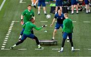 7 June 2021; Goalkeeping coach Dean Kiely with goalkeepers Gavin Bazunu, Mark Travers and Caoimhin Kelleher during a Republic of Ireland training session at Szusza Ferenc Stadion in Budapest, Hungary. Photo by Alex Nicodim/Sportsfile