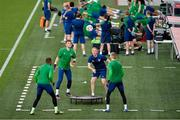7 June 2021; Goalkeeping coach Dean Kiely with goalkeepers, from left, Gavin Bazunu, Mark Travers and Caoimhin Kelleher during a Republic of Ireland training session at Szusza Ferenc Stadion in Budapest, Hungary. Photo by Alex Nicodim/Sportsfile