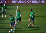 7 June 2021; John Egan, right, during a Republic of Ireland training session at Szusza Ferenc Stadion in Budapest, Hungary. Photo by Alex Nicodim/Sportsfile