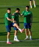 7 June 2021; John Egan, left, Danny Mandroiu and James Collins, right, during a Republic of Ireland training session at Szusza Ferenc Stadion in Budapest, Hungary. Photo by Alex Nicodim/Sportsfile