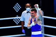 7 June 2021; Emmet Brennan of Ireland celebrates after winning his light heavyweight 81kg Box Off for Olympic Place bout against Liridon Nuha of Sweden on day four of the Road to Tokyo European Boxing Olympic qualifying event at Le Grand Dome in Paris, France. Photo by Baptiste Fernandez/Sportsfile