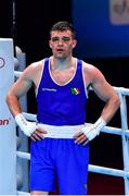 7 June 2021; Emmet Brennan of Ireland after winning his light heavyweight 81kg Box Off for Olympic Place bout against Liridon Nuha of Sweden on day four of the Road to Tokyo European Boxing Olympic qualifying event at Le Grand Dome in Paris, France. Photo by Baptiste Fernandez/Sportsfile