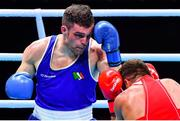 7 June 2021; Emmet Brennan of Ireland, left, and Liridon Nuha of Sweden in their light heavyweight 81kg Box Off for Olympic Place bout on day four of the Road to Tokyo European Boxing Olympic qualifying event at Le Grand Dome in Paris, France. Photo by Baptiste Fernandez/Sportsfile