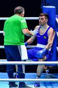 7 June 2021; Emmet Brennan of Ireland with coach Zaur Antia during his heavyweight 81kg Box Off for Olympic Place bout against Liridon Nuha of Sweden on day four of the Road to Tokyo European Boxing Olympic qualifying event at Le Grand Dome in Paris, France. Photo by Baptiste Fernandez/Sportsfile