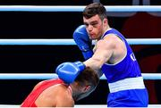 7 June 2021; Emmet Brennan of Ireland, right, and Liridon Nuha of Sweden in their light heavyweight 81kg Box Off for Olympic Place bout on day four of the Road to Tokyo European Boxing Olympic qualifying event at Le Grand Dome in Paris, France. Photo by Baptiste Fernandez/Sportsfile