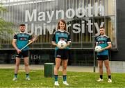 8 June 2021; Maynooth University GAA players Meath Ladies footballer Mary Kate Lynch with, from left, Kilkenny hurler Conor Drennan and Kildare footballer Shane O'Sullivan at the launch of the new scholarship agreement between the Gaelic Players Association (GPA) and Maynooth University. Under the agreement, four fully-funded scholarships will be available to inter-county players annually, with successful applicants to be known as 'Maynooth University/GPA Scholars'. Photo by Matt Browne/Sportsfile