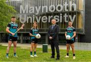 8 June 2021; Dr John McGinnity, Maynooth University Admissions Officer, pictured with, from left, Maynooth University GAA players Kilkenny hurler Conor Drennan, Meath footballer Mary Kate Lynch and Kildare footballer Shane O'Sullivan at the launch of the new scholarship agreement between the Gaelic Players Association (GPA) and Maynooth University. Under the agreement, four fully-funded scholarships will be available to inter-county players annually, with successful applicants to be known as 'Maynooth University/GPA Scholars'. Photo by Matt Browne/Sportsfile