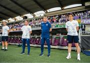 8 June 2021; Republic of Ireland manager Stephen Kenny with coaches Keith Andrews, right, and Anthony Barry, left, before the international friendly match between Hungary and Republic of Ireland at Szusza Ferenc Stadion in Budapest, Hungary. Photo by Alex Nicodim/Sportsfile