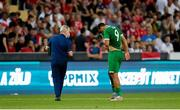 8 June 2021; Adam Idah of Republic of Ireland receives medical attention from Republic of Ireland team doctor Alan Byrne during the international friendly match between Hungary and Republic of Ireland at Szusza Ferenc Stadion in Budapest, Hungary. Photo by Alex Nicodim/Sportsfile