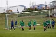 8 June 2021; Players move the goalposts during a Republic of Ireland women training session at Versalavollur in Reykjavik, Iceland. Photo by Eythor Arnason/Sportsfile