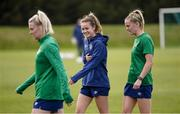 8 June 2021; Players, from left, Saoirse Noonan, Heather Payne and Claire Walsh during a Republic of Ireland women training session at Versalavollur in Reykjavik, Iceland. Photo by Eythor Arnason/Sportsfile