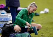 8 June 2021; Louise Quinn mixes a drink before a Republic of Ireland women training session at Versalavollur in Reykjavik, Iceland. Photo by Eythor Arnason/Sportsfile