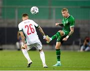 8 June 2021; James McClean of Republic of Ireland and Bendeguz Bolla of Hungary during the international friendly match between Hungary and Republic of Ireland at Szusza Ferenc Stadion in Budapest, Hungary. Photo by Alex Nicodim/Sportsfile