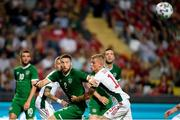 8 June 2021; Matt Doherty of Republic of Ireland in action against András Schafer of Hungary during the international friendly match between Hungary and Republic of Ireland at Szusza Ferenc Stadion in Budapest, Hungary. Photo by Alex Nicodim/Sportsfile