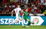 8 June 2021; Daryl Horgan of Republic of Ireland in action against Willi Orban of Hungary during the international friendly match between Hungary and Republic of Ireland at Szusza Ferenc Stadion in Budapest, Hungary. Photo by Alex Nicodim/Sportsfile