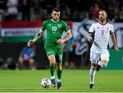 8 June 2021; Troy Parrott of Republic of Ireland in action against Atilla Fiola of Hungary during the international friendly match between Hungary and Republic of Ireland at Szusza Ferenc Stadion in Budapest, Hungary. Photo by Alex Nicodim/Sportsfile