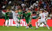 8 June 2021; Troy Parrott of Republic of Ireland in action against Kevin Varga, left, and Willi Orban of Hungary during the international friendly match between Hungary and Republic of Ireland at Szusza Ferenc Stadion in Budapest, Hungary. Photo by Alex Nicodim/Sportsfile