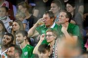 8 June 2021; Republic of Ireland supporters during the international friendly match between Hungary and Republic of Ireland at Szusza Ferenc Stadion in Budapest, Hungary. Photo by Alex Nicodim/Sportsfile