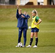 8 June 2021; Manager Vera Pauw and Denise O'Sullivan during a Republic of Ireland women training session at Versalavollur in Reykjavik, Iceland. Photo by Eythor Arnason/Sportsfile