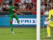 8 June 2021; Chiedozie Ogbene of Republic of Ireland has a shot on goal on goal during the international friendly match between Hungary and Republic of Ireland at Szusza Ferenc Stadion in Budapest, Hungary. Photo by Alex Nicodim/Sportsfile