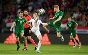 8 June 2021; András Schafer of Hungary in action against Daryl Horgan of Republic of Ireland during the international friendly match between Hungary and Republic of Ireland at Szusza Ferenc Stadion in Budapest, Hungary. Photo by Alex Nicodim/Sportsfile
