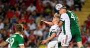 8 June 2021; Shane Duffy of Republic of Ireland in action against András Schafer, left, and Willi Orban of Hungary during the international friendly match between Hungary and Republic of Ireland at Szusza Ferenc Stadion in Budapest, Hungary. Photo by Alex Nicodim/Sportsfile