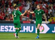 8 June 2021; Shane Duffy, right, and John Egan of Republic of Ireland during the international friendly match between Hungary and Republic of Ireland at Szusza Ferenc Stadion in Budapest, Hungary. Photo by Alex Nicodim/Sportsfile