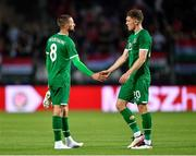 8 June 2021; Conor Hourihane, left, and Dara O'Shea of Republic of Ireland following the international friendly match between Hungary and Republic of Ireland at Szusza Ferenc Stadion in Budapest, Hungary. Photo by Alex Nicodim/Sportsfile