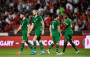 8 June 2021; Republic of Ireland players, from left, Matt Doherty, Shane Duffy, Josh Cullen and Chiedozie Ogbene following the international friendly match between Hungary and Republic of Ireland at Szusza Ferenc Stadion in Budapest, Hungary. Photo by Alex Nicodim/Sportsfile