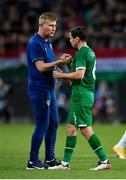 8 June 2021; Republic of Ireland manager Stephen Kenny and Josh Cullen following the international friendly match between Hungary and Republic of Ireland at Szusza Ferenc Stadion in Budapest, Hungary. Photo by Alex Nicodim/Sportsfile