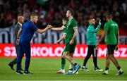 8 June 2021; Republic of Ireland manager Stephen Kenny and Shane Duffy following the international friendly match between Hungary and Republic of Ireland at Szusza Ferenc Stadion in Budapest, Hungary. Photo by Alex Nicodim/Sportsfile