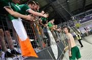 8 June 2021; Shane Duffy of Republic of Ireland with Republic of Ireland supporters following the international friendly match between Hungary and Republic of Ireland at Szusza Ferenc Stadion in Budapest, Hungary. Photo by Alex Nicodim/Sportsfile