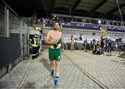 8 June 2021; Shane Duffy make his way to Republic of Ireland supporters to give away his jersey following the international friendly match between Hungary and Republic of Ireland at Szusza Ferenc Stadion in Budapest, Hungary. Photo by Alex Nicodim/Sportsfile