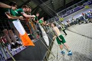 8 June 2021; Shane Duffy of Republic of Ireland with supporters following the international friendly match between Hungary and Republic of Ireland at Szusza Ferenc Stadion in Budapest, Hungary. Photo by Alex Nicodim/Sportsfile