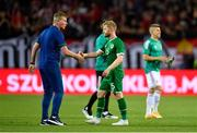8 June 2021; Republic of Ireland manager Stephen Kenny with Daryl Horgan following the international friendly match between Hungary and Republic of Ireland at Szusza Ferenc Stadion in Budapest, Hungary. Photo by Alex Nicodim/Sportsfile