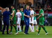 8 June 2021; Republic of Ireland manager Stephen Kenny with Chiedozie Ogbene following the international friendly match between Hungary and Republic of Ireland at Szusza Ferenc Stadion in Budapest, Hungary. Photo by Alex Nicodim/Sportsfile