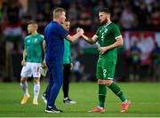8 June 2021; Republic of Ireland manager Stephen Kenny with Matt Doherty following the international friendly match between Hungary and Republic of Ireland at Szusza Ferenc Stadion in Budapest, Hungary. Photo by Alex Nicodim/Sportsfile