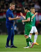 8 June 2021; Republic of Ireland manager Stephen Kenny with Josh Cullen following the international friendly match between Hungary and Republic of Ireland at Szusza Ferenc Stadion in Budapest, Hungary. Photo by Alex Nicodim/Sportsfile