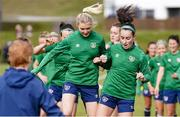8 June 2021; Éabha O'Mahony, left, and Roma McLaughlin during a Republic of Ireland women training session at Versalavollur in Reykjavik, Iceland. Photo by Eythor Arnason/Sportsfile